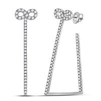 14kt White Gold Womens Round Diamond Infinity Trapezoid Hoop Earrings 3/4 Cttw