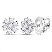 14kt White Gold Womens Round Diamond Flower Cluster Burst Earrings 1/8 Cttw