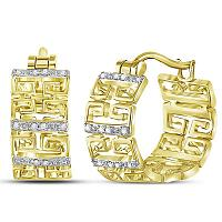 14kt Yellow Gold Womens Round Diamond Huggie Earrings 1/10 Cttw