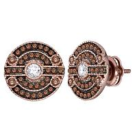 14kt Rose Gold Womens Round Brown Color Enhanced Diamond Stud Earrings 5/8 Cttw