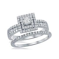 14kt White Gold Womens Round Diamond Square Halo Bridal Wedding Engagement Ring Band Set 7/8 Cttw