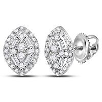 10kt White Gold Womens Round Diamond Oval Cluster Earrings 1/3 Cttw