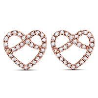 10kt Rose Gold Womens Round Diamond Pretzel Heart Stud Earrings 1/6 Cttw