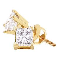 14kt Yellow Gold Unisex Princess Diamond Solitaire Stud Earrings 1/4 Cttw