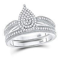 10kt White Gold Womens Round Diamond Teardrop Bridal Wedding Engagement Ring Band Set 1/3 Cttw