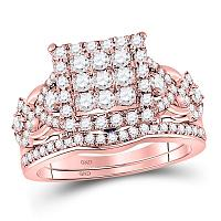 14kt Rose Gold Womens Round Diamond Vintage-inspired Bridal Wedding Engagement Ring Band Set 1-1/4 Cttw