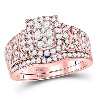 14kt Rose Gold Womens Round Diamond Vintage-inspired Bridal Wedding Engagement Ring Band Set 1-3/8 Cttw