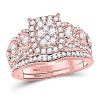14kt Rose Gold Womens Round Diamond Vintage-inspired Rectangle Bridal Wedding Engagement Ring Band Set 1.00 Cttw