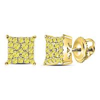 10kt Yellow Gold Womens Round Canary Diamond Square Cluster Stud Earrings 1/4 Cttw