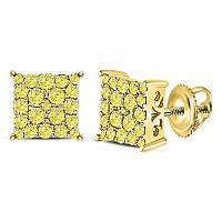 10kt Yellow Gold Womens Round Color Enhanced Diamond Square Cluster Earrings 3/4 Cttw
