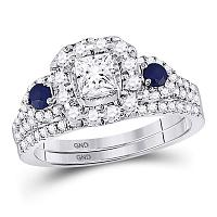 14kt White Gold Womens Princess Diamond Royal Sparkle Bridal Wedding Engagement Ring Band Set 1-1/12 Cttw