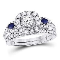 14kt White Gold Womens Round Diamond Royal Sparkle Bridal Wedding Engagement Ring Band Set 1-1/20 Cttw