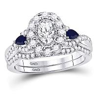 14kt White Gold Womens Oval Diamond Royal Sparkle Bridal Wedding Engagement Ring Band Set 1-1/20 Cttw