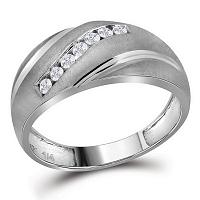 10kt White Gold Mens Round Diamond Diagonal Single Row Wedding Band Ring 1/4 Cttw