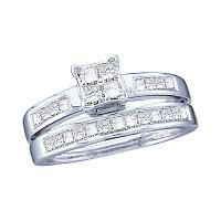 14kt White Gold Womens Princess Diamond Bridal Wedding Engagement Ring Band Set 1.00 Cttw - Size 7
