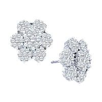 14kt White Gold Womens Round Diamond Large Flower Cluster Screwback Earrings 4.00 Cttw