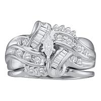 14kt White Gold Womens Marquise Diamond Bridal Wedding Engagement Ring Band Set 1/2 Cttw
