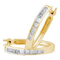 14k Yellow Gold Princess Diamond Womens Channel-set Snap-down Hoop Earrings 1/3 Cttw
