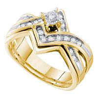 14kt Yellow Gold Womens Round Diamond Bridal Wedding Engagement Ring Band Set 1/4 Cttw