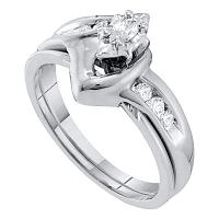 10k White Gold Marquise Diamond Solitaire Womens Classic Wedding Bridal Set 1/4 Cttw