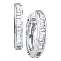 14kt White Gold Womens Baguette Diamond Huggie Earrings 1/6 Cttw