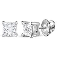14kt White Gold Unisex Princess Diamond Solitaire Stud Earrings 7/8 Cttw
