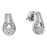 14kt White Gold Womens Round Diamond Flower Cluster Teardrop Earrings 1/4 Cttw