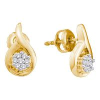 14kt Yellow Gold Womens Round Diamond Flower Cluster Teardrop Earrings 1/6 Cttw
