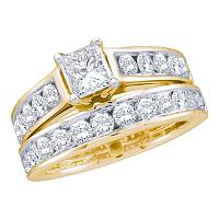 14k Yellow Gold Womens Princess Diamond Solitaire Wedding Bridal Engagement Ring Set 1.00 Cttw