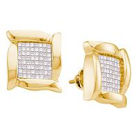 14kt Yellow Gold Womens Princess Diamond Square Cluster Stud Earrings 1.00 Cttw