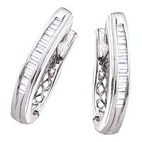 14kt White Gold Womens Baguette Diamond Hoop Earrings 1/2 Cttw