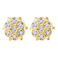 10kt Yellow Gold Womens Round Prong-set Diamond Cluster Stud Earrings 1/20 Cttw