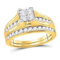 14kt Yellow Gold Womens Princess Diamond Bridal Wedding Engagement Ring Band Set 1.00 Cttw - Size 7