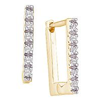 14kt Yellow Gold Womens Round Diamond Rectangle Huggie Hoop Earrings 1/20 Cttw