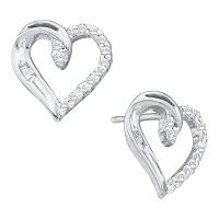 14kt White Gold Womens Round Diamond Heart Love Stud Earrings 1/6 Cttw