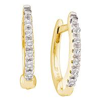 10kt Yellow Gold Womens Round Prong-set Diamond Single Row Hoop Earrings 1/12 Cttw