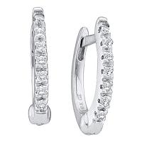 14kt White Gold Womens Round Prong-set Diamond Single Row Hoop Earrings 1/12 Cttw