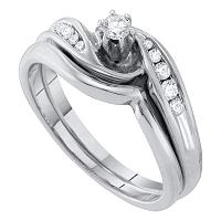 10kt White Gold Womens Round Diamond Bridal Wedding Engagement Ring Band Set 1/4 Cttw
