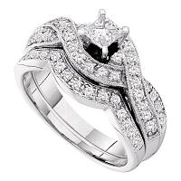 14kt White Gold Womens Princess Diamond Twist Bridal Wedding Engagement Ring Band Set 3/4 Cttw