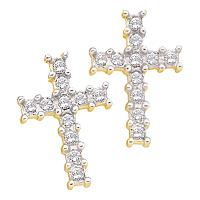 14kt Yellow Gold Womens Round Diamond Roman Cross Religious Stud Earrings 1/10 Cttw