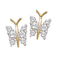 14kt Yellow Gold Womens Round Diamond Butterfly Bug Screwback Stud Earrings 1/3 Cttw