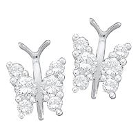 14kt White Gold Womens Round Diamond Butterfly Bug Screwback Stud Earrings 1/3 Cttw