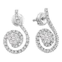 14kt White Gold Womens Round Diamond Curled Flower Cluster Earrings 1/2 Cttw
