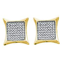 14kt Yellow Gold Womens Round Diamond Square Kite Cluster Earrings 5/8 Cttw