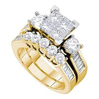 14kt Yellow Gold Womens Princess Diamond Bridal Wedding Engagement Ring Band Set 1-1/2 Cttw