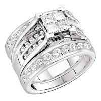 14kt White Gold Womens Princess Diamond Elevated Bridal Wedding Engagement Ring Band Set 2.00 Cttw