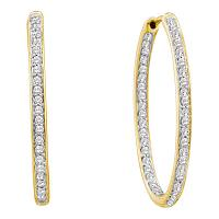 14kt Yellow Gold Womens Round Diamond Inside Outside Hoop Earrings 1.00 Cttw