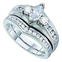 14kt White Gold Womens Marquise Diamond Bridal Wedding Engagement Ring Band Set 1.00 Cttw