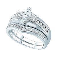 14kt White Gold Womens Marquise Diamond Bridal Wedding Engagement Ring Band Set 1/5 Cttw