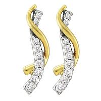14k Yellow Gold Round Pave-set Diamond Womens Journey Screwback Stud Earrings 1/2 Cttw